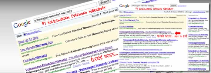 Organic search for Volkswagen Extended Warranty